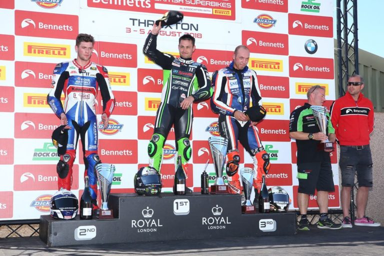 Leon Haslam on the podium at Thruxton BSB 2018