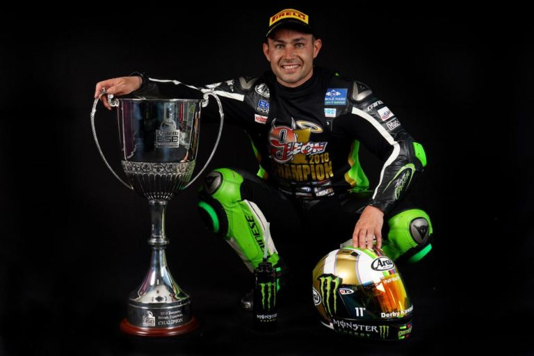 British Superbikes Champion Leon Haslam with the trophy