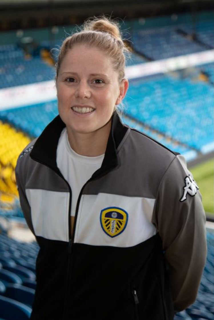Abby in her Womens Leeds Football Club tracksuit
