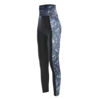 SLIM High Waisted Black Indigo Panel Compression Leggings with Silver Anti-bacterial Finish (OUTLET)