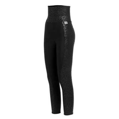 SLIM High Waisted Embossed Floral Print Panel Compression Leggings Plus with Silver Anti-bacterial Finish(ITA) Black size UK4-6