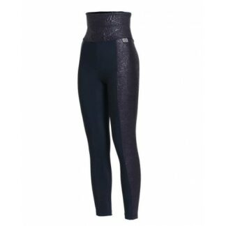 SLIM High Waisted Embossed Floral Print Panel Compression Leggings Plus with Silver Anti-bacterial Finish(ITA) Navy size UK6-8
