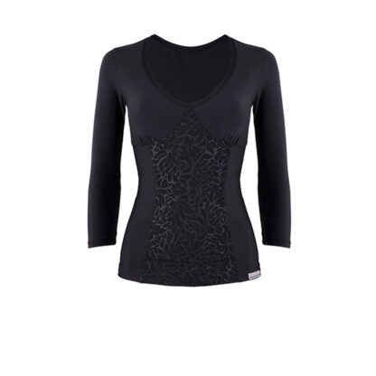 SLIM Luxe Panel Black 3 Quarter Length Sleeve Top (OUTLET)