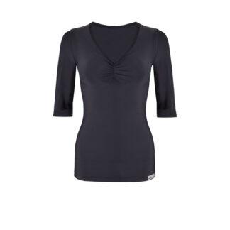 SLIM Ruched Elbow Length Sleeve Top (ITA) Black size UK4