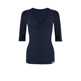 SLIM Ruched Elbow Length Sleeve Top (ITA) Navy size UK4
