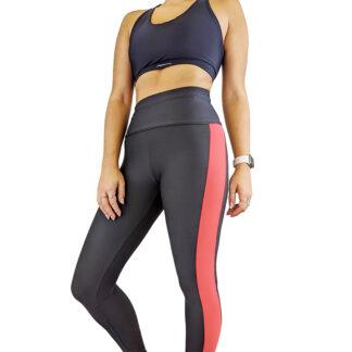SLIM Textured High Waist Leggings Black/Pink
